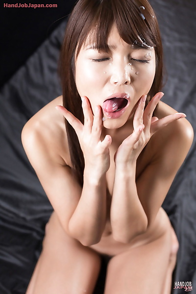 Naked Japanese girl licks..