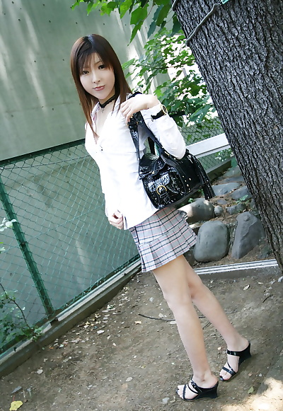 Japanese teen Miyo flashes..